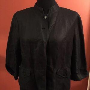 Emma James Sz 16 Black Linen Blend Jacket